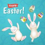 De de witte konijntjes en eieren van Tow Easter Royalty-vrije Stock Foto's