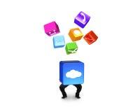 De de wolkendoos van de mensenholding verlichtte app pictogrammen op wit worden geïsoleerd dat Stock Fotografie