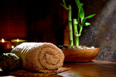 De de zachte Katoenen Handdoek van de Hand en Installatie van het Bamboe in een Kuuroord Royalty-vrije Stock Afbeelding