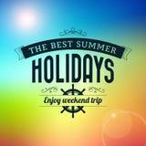 De de zomervakantie geniet de typografie van affiche van de weekendreis Stock Foto's