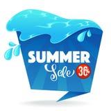 De de zomerverkoop, beeldverhaal glanst vectorkortingsbanner stock illustratie