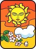 De de zomerzon betrekt Bloesems royalty-vrije illustratie