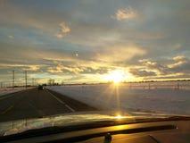 De de zonsondergangwinter van Idaho Royalty-vrije Stock Afbeelding
