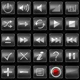 De de zwarte pictogrammen of knopen van het Controlebord Royalty-vrije Stock Foto's