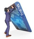 De debetkaart betekent Creditcards en Bankwezen het 3d Teruggeven vector illustratie