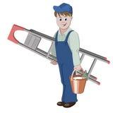 De decorateur of het manusje van alles zich met ladder bevinden en een emmer die lijm Royalty-vrije Stock Foto's