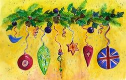 De Decoratie, de spar, de hulst en de Denneappels van Kerstmis. Stock Afbeeldingen