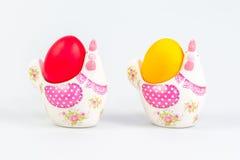 De decoratie en de eieren van Pasen Stock Afbeeldingen