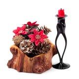 De decoratie en de kaars van Kerstmis Royalty-vrije Stock Foto's