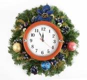 De decoratie en het horloge van Kerstmis Stock Foto