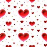 De decoratie gouden en rode veelkleurig van liefdeharten Romantische gelukkige vreugdeverhouding Het patroonconcept van de valent Stock Afbeeldingen