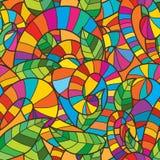 De decoratie naadloos patroon van het wervelings kleurrijk blad Stock Fotografie