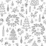 De decoratie naadloos patroon van Kerstmis Achtergrond met grafische elementen Royalty-vrije Stock Fotografie