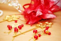 De decoratie rode parels van het huwelijk royalty-vrije stock foto's
