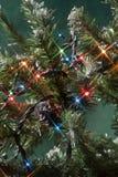 De decoratie van de achtergrondkerstmisboom Stock Afbeeldingen