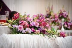 De decoratie van de de lijstbloem van het huwelijk Stock Foto