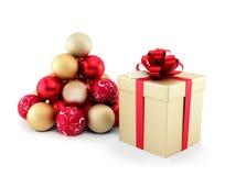 De decoratie van de gift en van Kerstmis Stock Afbeeldingen