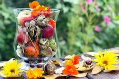 De decoratie van de herfst Granaatappel, druiven en kastanje op hout in oktober stock fotografie