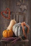De decoratie van de herfst Granaatappel, druiven en kastanje op hout in oktober Stock Afbeeldingen