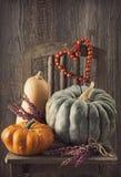 De decoratie van de herfst Granaatappel, druiven en kastanje op hout in oktober Royalty-vrije Stock Afbeelding
