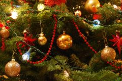 De decoratie van de kerstboom Stock Foto