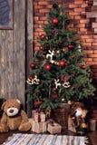 De decoratie van de kerstboom en van Kerstmis Stock Foto