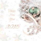 De decoratie van de Kerstmishoek op witte achtergrond, ruimte voor uw Royalty-vrije Stock Foto