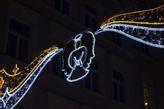 De decoratie van de Kerstmisstraat bij nacht in Krakau Stock Foto's