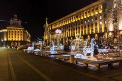 De decoratie van de Kerstmisstraat in het centrum van Sofia, Bulgarije Royalty-vrije Stock Foto