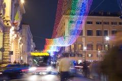 De decoratie van de Kerstmisstraat in Rome Royalty-vrije Stock Foto