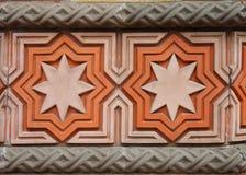 De decoratie van de muur op Synagoge in Boedapest stock afbeeldingen