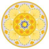 De decoratie van de schotel met abstracte oranje bloem Royalty-vrije Stock Afbeeldingen