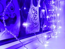 De decoratie van glazen venster waste weg met verf stock afbeeldingen