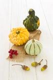 De decoratie van Halloween en van de herfst met pompoenen Stock Afbeeldingen