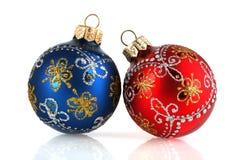 De decoratie van het nieuw-jaar op een witte achtergrond Stock Foto's