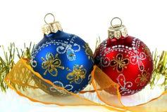 De decoratie van het nieuw-jaar op een witte achtergrond Royalty-vrije Stock Foto's