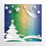 De Decoratie van het nieuwjaar Document Kerstmis op psychodelic achtergrond Royalty-vrije Stock Foto
