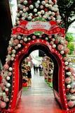 De Decoratie van Kerstmis bij de Weg van de Boomgaard van Singapore Stock Fotografie