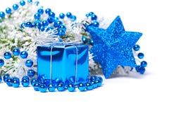 De decoratie van Kerstmis in blauw Royalty-vrije Stock Afbeeldingen