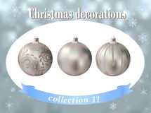 De decoratie van Kerstmis De inzameling van zilveren glas ballsdecorated Stock Afbeelding