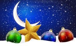 De decoratie van Kerstmis in de sneeuw Stock Fotografie