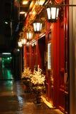De decoratie van Kerstmis in de straten van Lyon Stock Foto's