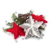 De decoratie van Kerstmis die op witte achtergrond wordt geïsoleerd royalty-vrije stock fotografie