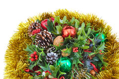 De decoratie van Kerstmis die op witte achtergrond wordt geïsoleerdh Stock Afbeeldingen