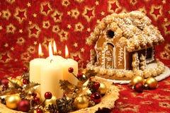 De decoratie van Kerstmis en peperkoekhuis Stock Foto