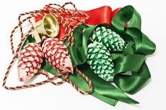 De decoratie van Kerstmis in groen en rood Royalty-vrije Stock Foto's