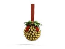 De decoratie van Kerstmis het hangen met gouden noten Royalty-vrije Stock Fotografie