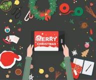 De decoratie van Kerstmis Het voorbereidingen treffen voor Kerstkaart vector illustratie