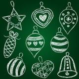 De decoratie van Kerstmis - krijt op schoolboard Stock Foto's