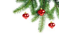 De Decoratie van Kerstmis met Drie Harten Stock Foto